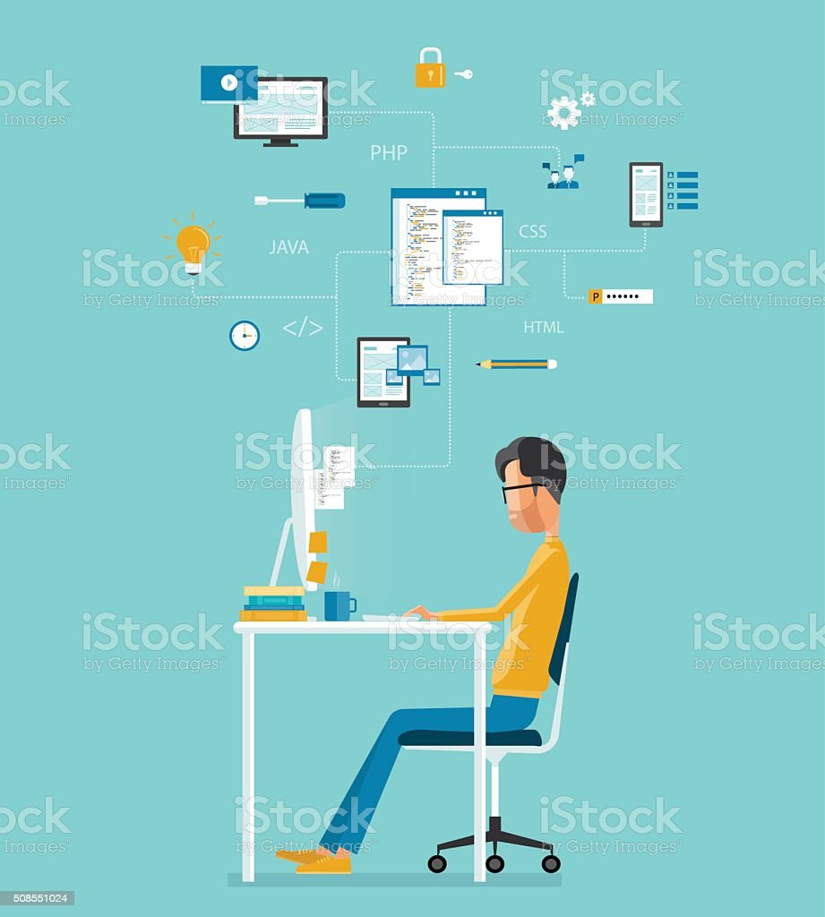 vector developer working on workplace. develop for website and application vector art illustration