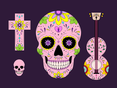 Vector Dia de Los Muertos, Day of the Dead or Mexico. Decoration with skeletons, sculls, maracas, guitar, candles.