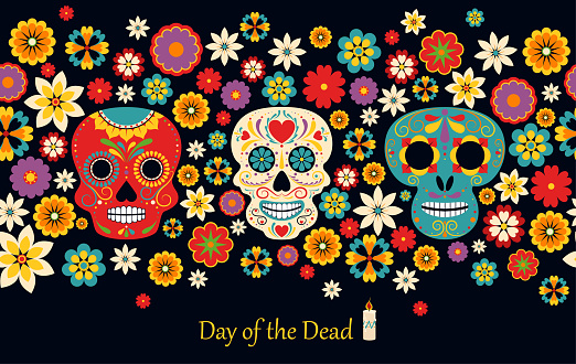 Vector Dia de Los Muertos, Day of the Dead or Mexico Halloween. The main symbols of the holiday on the dark background. Day of the dead.