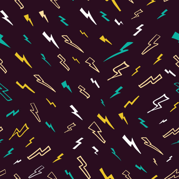 vector diagonal funky lightnings auf dunkelviolett nahtlosem musterhintergrund. - neonhosen stock-grafiken, -clipart, -cartoons und -symbole