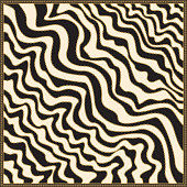 Vector diagonal wave shawl print with gold chains, black and beige stripes, Greek meander border pattern, Baroque fantasy silk bandana, scarf, kerchief, textile patch, carpet, pillow