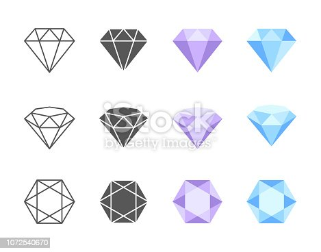 Collection of colorful and black and white vector icons of Diamonds. Side, three quarters and top view of four solutions of coloring