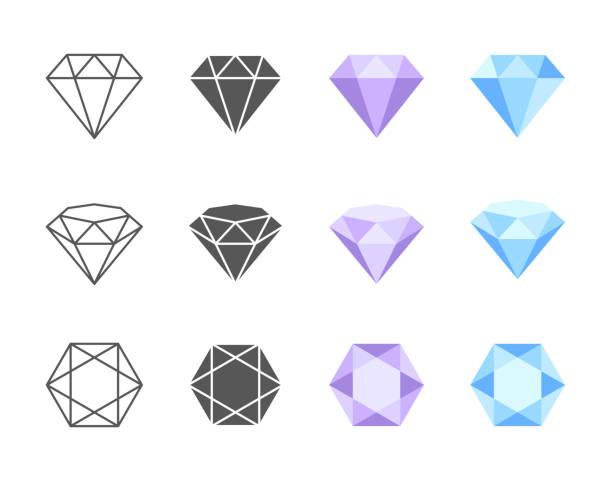 illustrazioni stock, clip art, cartoni animati e icone di tendenza di icone colorate vettoriali diamante - brillante