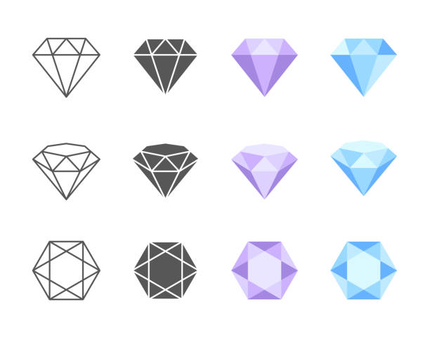 Vector Diamond Colorful Icons Collection of colorful and black and white vector icons of Diamonds. Side, three quarters and top view of four solutions of coloring diamond stock illustrations