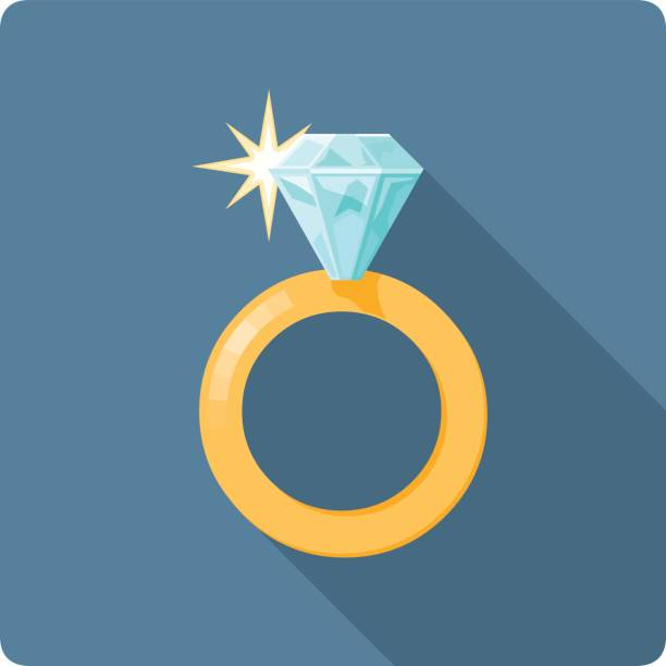 diamant-ring vektorgrafik. - trauring stock-grafiken, -clipart, -cartoons und -symbole