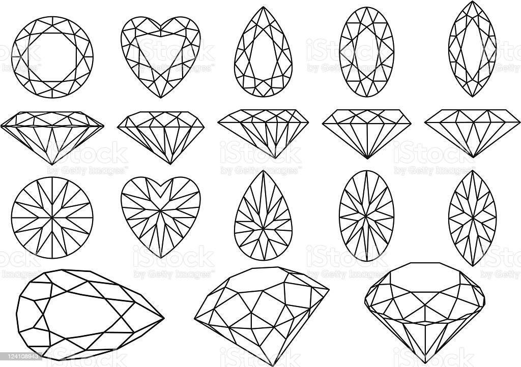 vector diamond set royalty-free stock vector art
