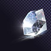 Vector sparkling diamond, gem, shiny jewel