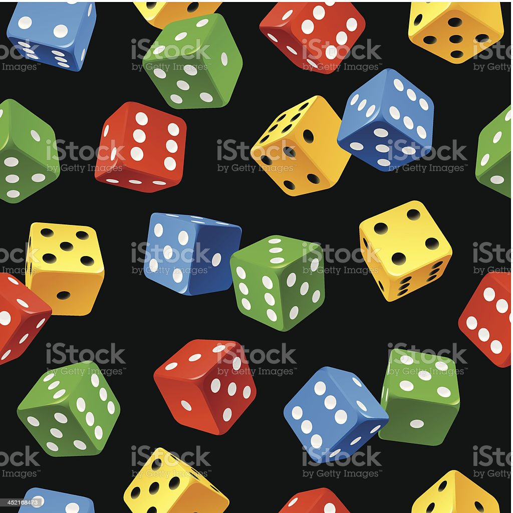 Vector dice seamless pattern isolated on black background royalty-free stock vector art