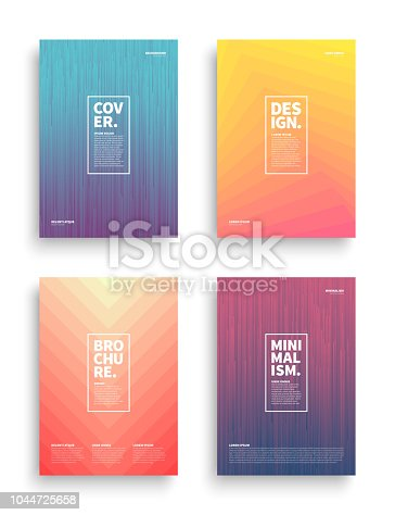 Set of Tech Vector Different Style Brochure Cover Flyer Book Booklet Banner Broadsheet Magazine Poster Placard Presentation Design Templates Mockup. Collection of Geometrical Abstract Backgrounds