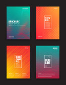 Set of Tech Vector Different Style Green Red and Orange Brochure Cover Flyer Book Booklet Banner Broadsheet Magazine Poster Placard Presentation Design Templates. Geometrical Abstract Backgrounds