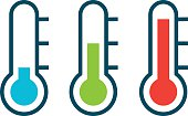 Vector different thermometer shows of cold heat and comfort temperature
