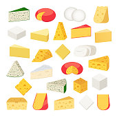 Vector different types of cheese detailed icons for dairies, farms, packaging and groceries branding.