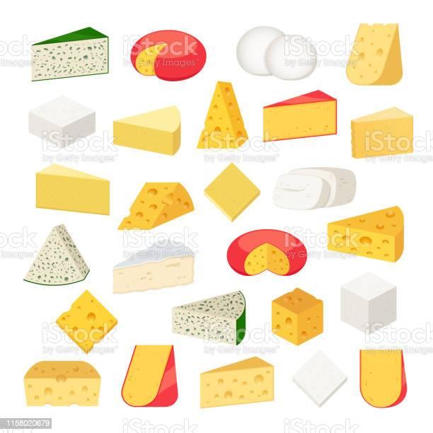 Vector Different Types Of Cheese Detailed Icons — стоковая векторная графика и другие изображения на тему Без людей