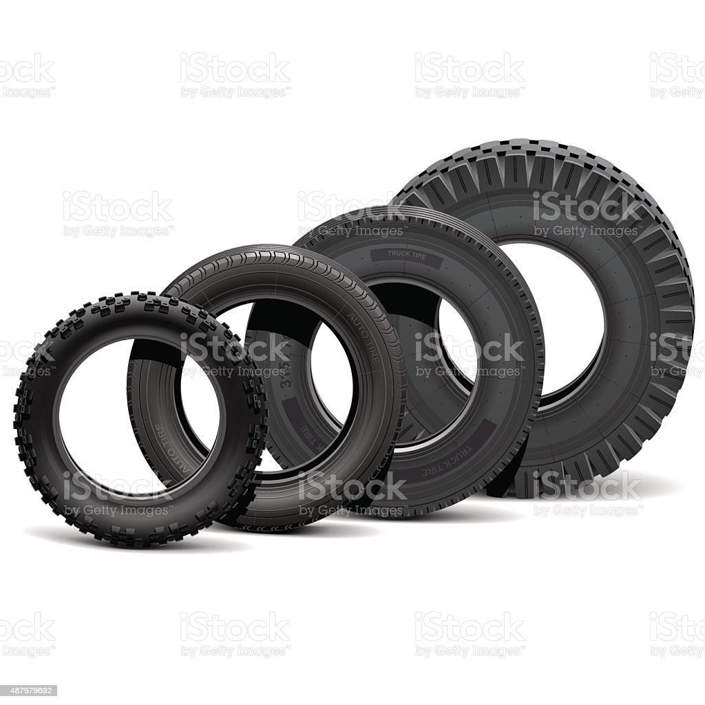 Vector Different Vehicle Tires vector art illustration