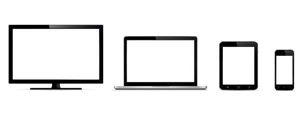 Vektor digitalen Geräten. Monitor, Laptop, Tablet und Smartphone. – Vektorgrafik