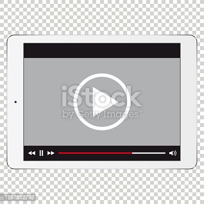 istock Vector digital tablet template for video 1197852797