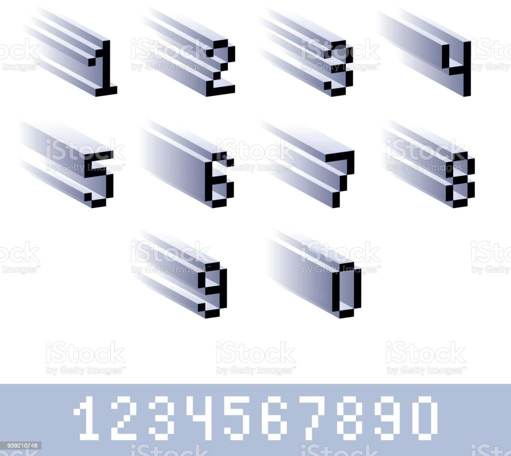 Chiffres De Vecteur Chiffres Créés Dans Le Style De 8 Bits