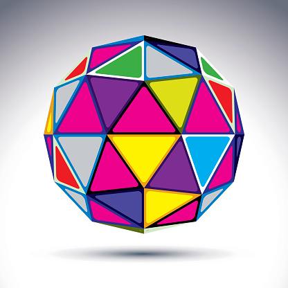 Vector dimensional modern abstract object, 3d disco ball.
