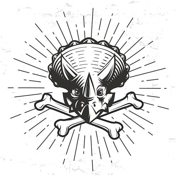 Vector Dino Template Triceratops Sport Mascot Design Hipster Bone Crest Art Illustration