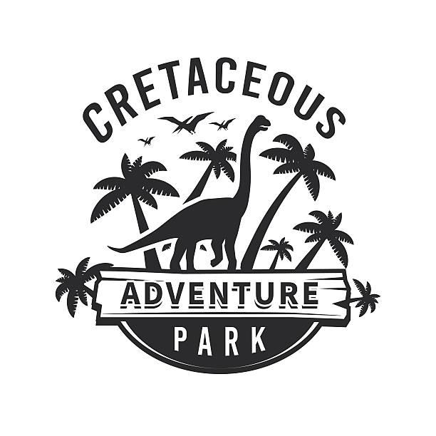 Vector dinosaur logo concept. brachiosaurus adventure park insignia design. Jurassic – Vektorgrafik