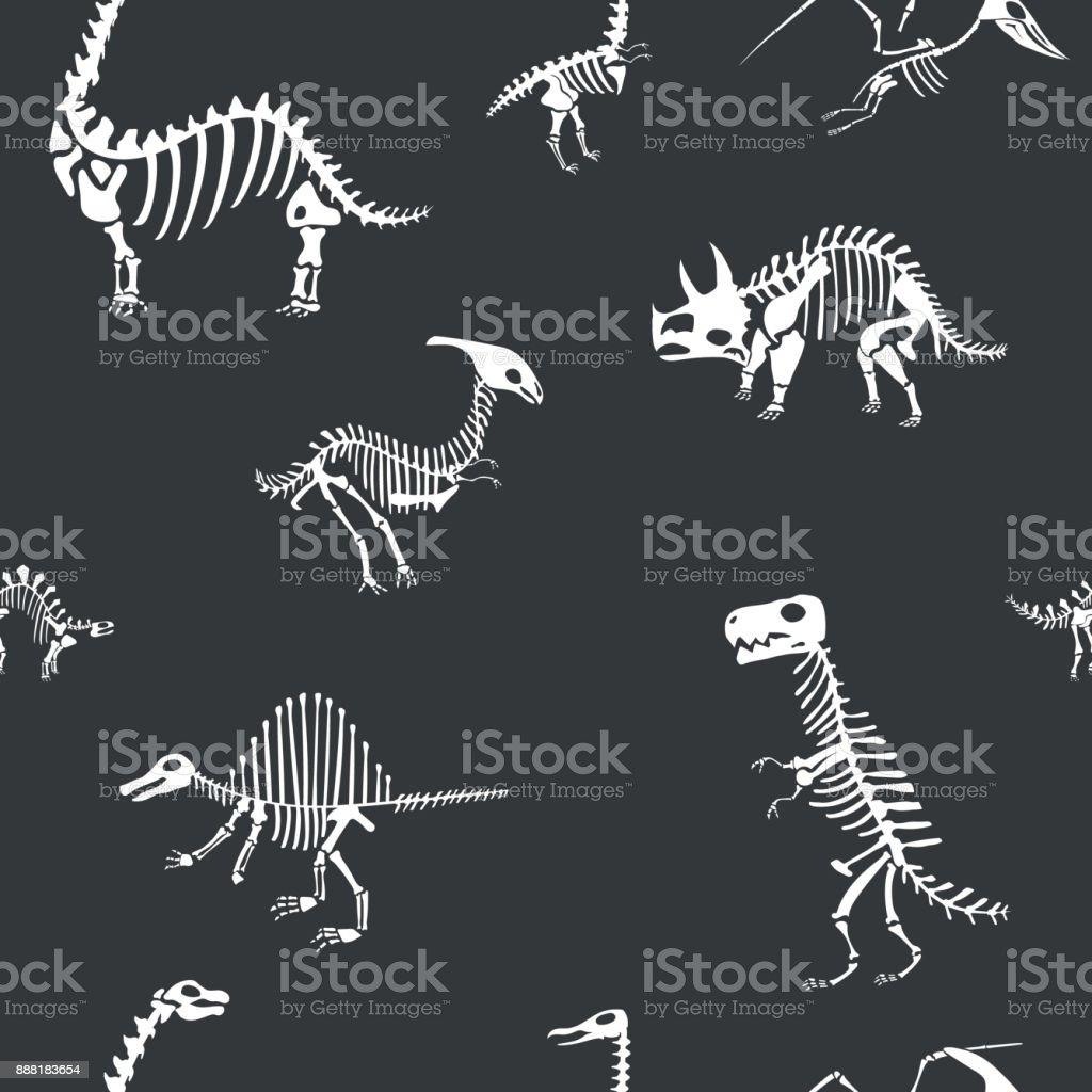 Vector dinosaur skeleton pattern. Dino seamless bone wrap background vector art illustration