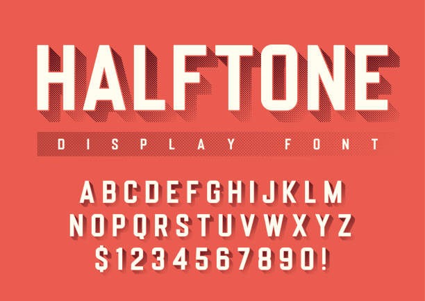 Vector display font design with halftone shadow, alphabet, chara Vector display font design with halftone shadow, alphabet, character set, typeface, typography, letters and numbers. Swatch color control. pin up girl stock illustrations
