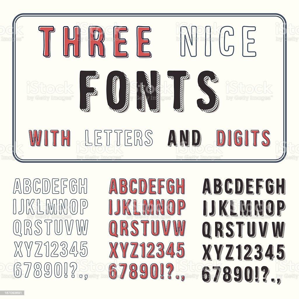 Main dessiné ensemble de police.  Écriture manuscrite Alphabet.  ABC avec chiffres.  Vect - Illustration vectorielle