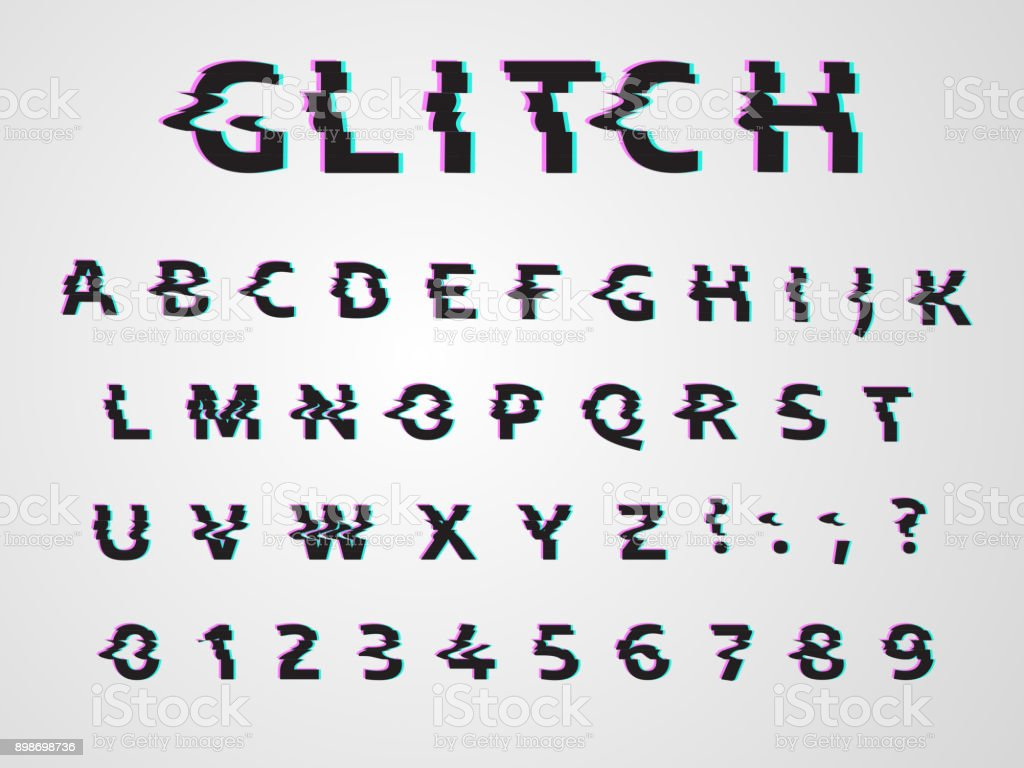 Vector Distorted Glitch Font Trendy Style Lettering Typeface Dark Latin Letters From A To