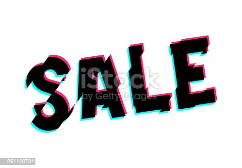 istock Vector distorted glitch sale embleme. Design element for promotion banner. 1291120734