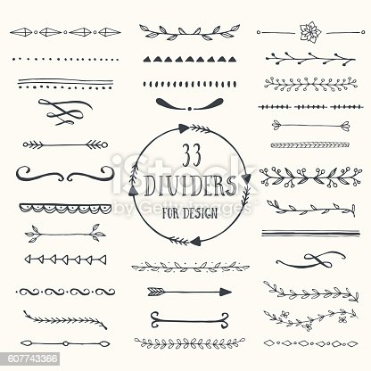 Collection of handdrawn borders made with brush and ink. Line and dividers for design. Ink borders. Vector dividers.