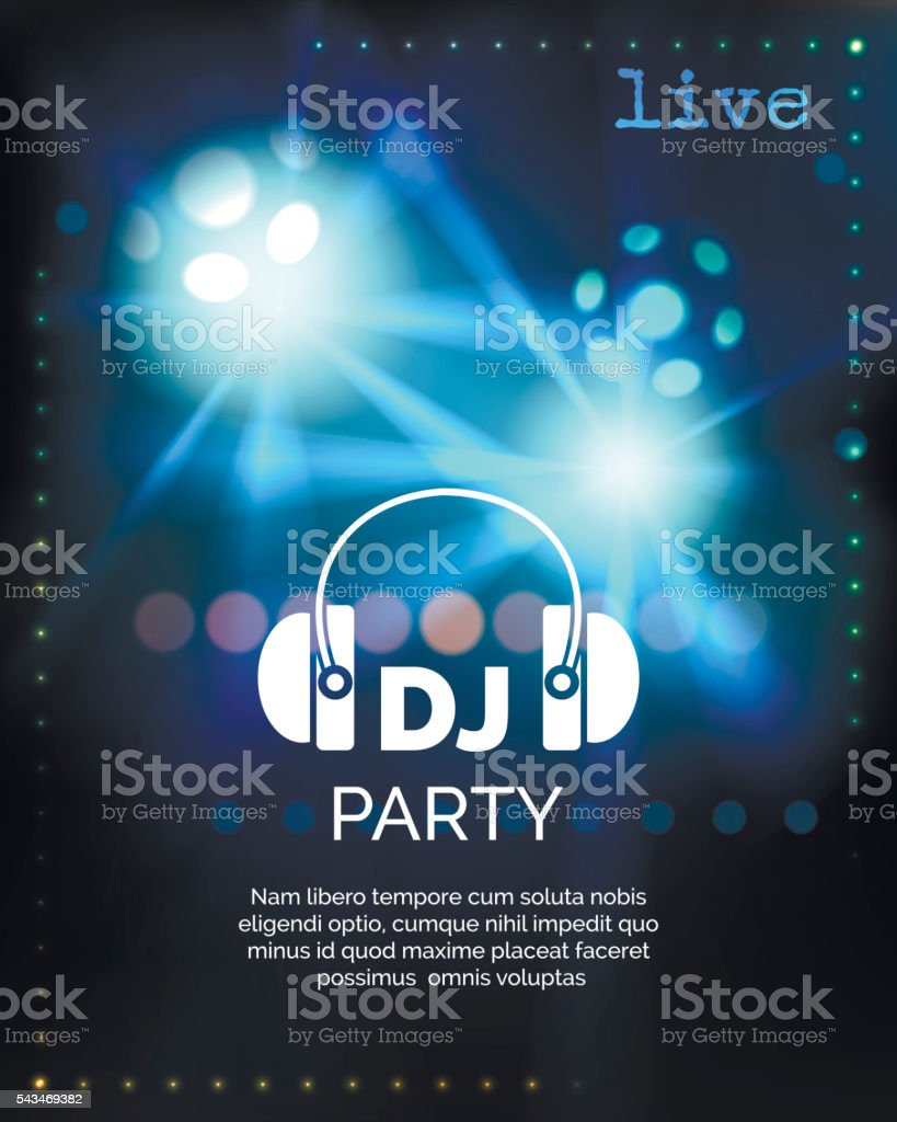 Vector dj party poster template vector art illustration