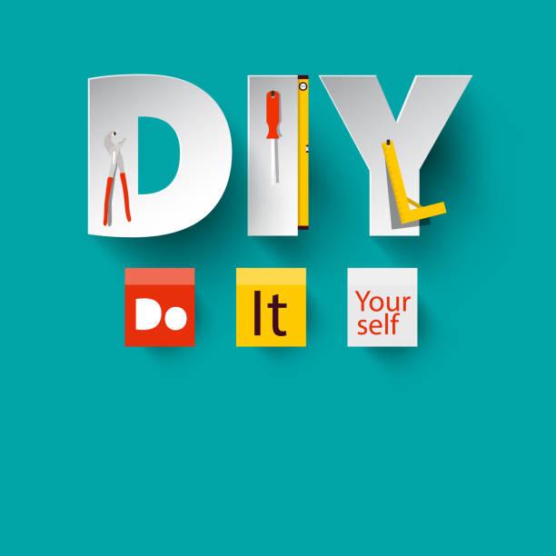 DIY - Vector Do it Yourself Design DIY - Vector Do it Yourself Design with Paper Cut Letters and Tools. diy stock illustrations