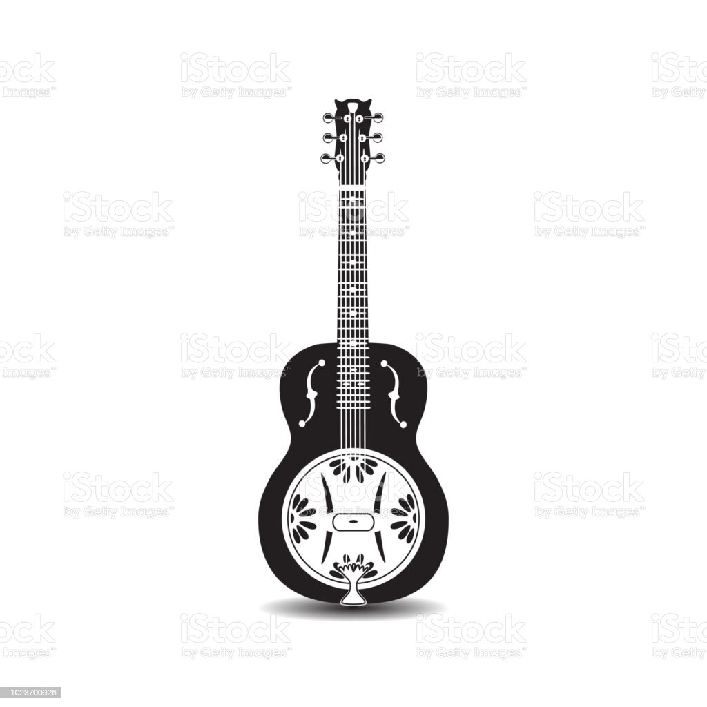 Vector dobro, american resonator guitar vector art illustration