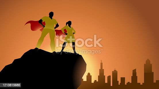 A silhouette style vector illustration of two medical superheros standing on top of a cliff with city skyline in the background.