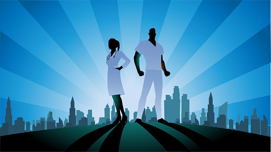 Vector Doctors Couple Silhouette Stock Illustration