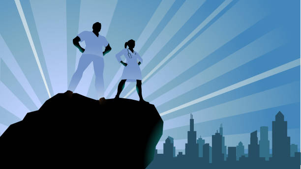 Vector Doctors Superhero Silhouette Stock Illustration A silhouette style illustration of a couple of doctors or healthcare workers standing on a cliff with city skyline in the background. Wide space available for your copy. nurse stock illustrations