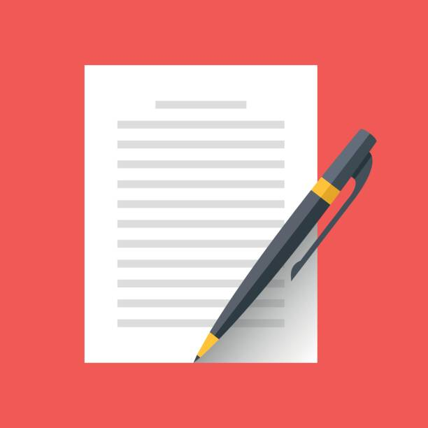 Vector document and pen icon. Singing document, filling form, business contract, application, claim concepts. Modern flat design vector illustration Vector document and pen icon. Singing document, filling form, business contract, application, claim concepts. Modern flat design graphic elements. Vector illustration application form stock illustrations