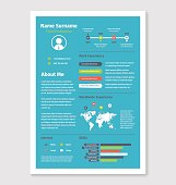 Vector colorful document resume cv in a4 format on blue.