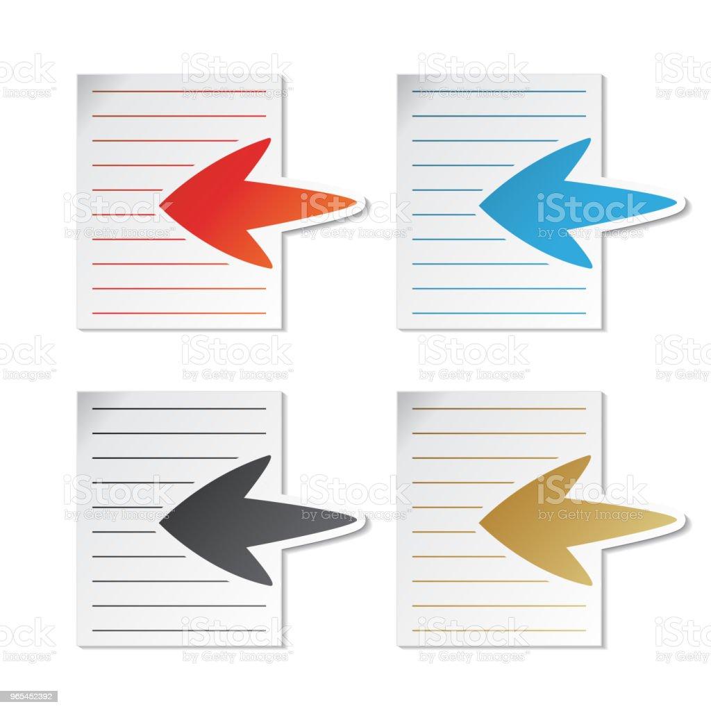 Cote de vecteur, feuille de papier avec flèche - étiquettes sur fond blanc. Utilisable pour un lien, lire la suite, ensuite, inscrivez-vous, Subscribe, enregistrement, menus, autocollants de couleur - clipart vectoriel de Billet libre de droits