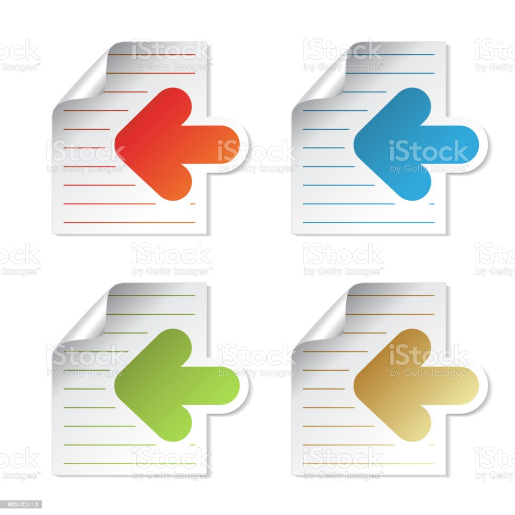 Vector document symbol, sheet of paper with arrow - labels on the white background. Usable for a link, Read more, Next,   Join now, Subscribe, Registration, menu options, color stickers royalty-free vector document symbol sheet of paper with arrow labels on the white background usable for a link read more next join now subscribe registration menu options color stickers stock vector art & more images of arrow - bow and arrow