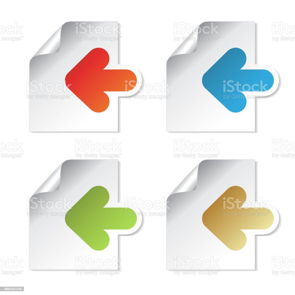 벡터 문서 기호, 화살표-종이의 시트는 흰색 바탕에 레이블. 사용 가능, 링크에 대 한 읽기, 다음, 회원 가입, 가입, 등록, 메뉴 옵션, 컬러 스티커 - 로열티 프리 0명 벡터 아트