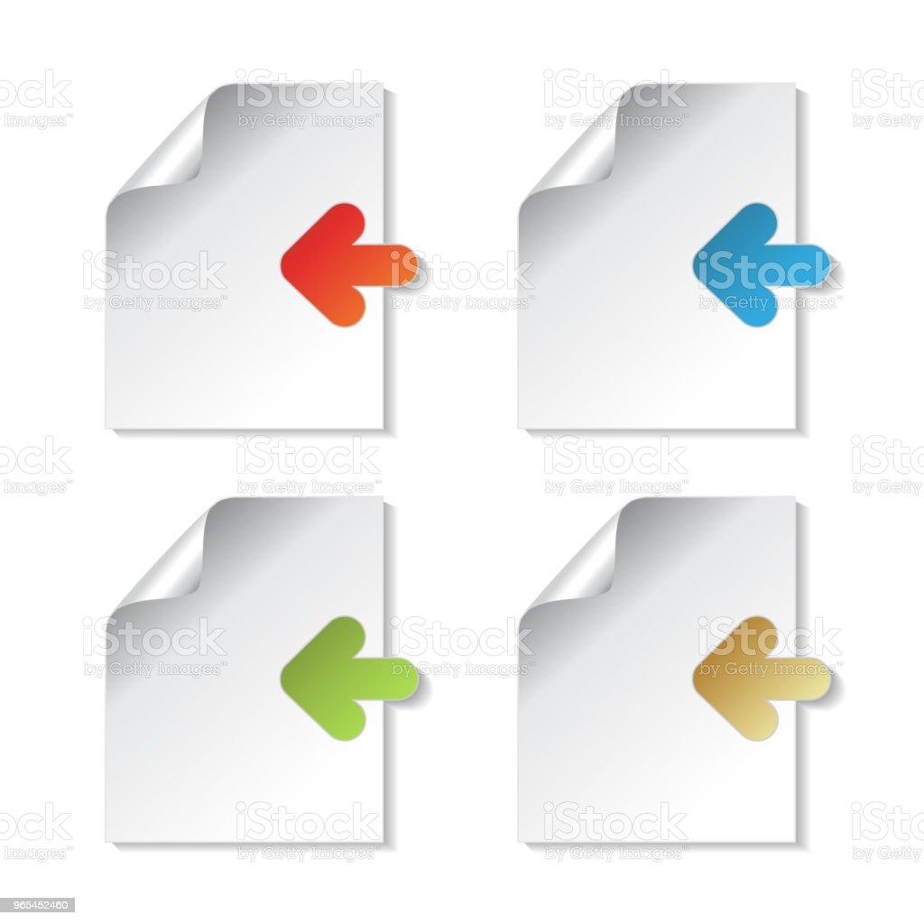 向量文檔符號, 紙上有箭頭標籤的白色背景。可用於連結, 閱讀更多, 下一個, 加入現在, 訂閱, 註冊, 功能表選項, 彩色貼紙 - 免版稅剪裁圖圖庫向量圖形