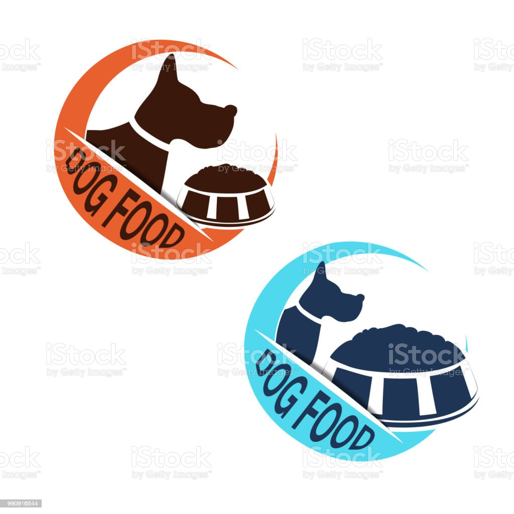 Vector Dog Food Label With Silhouette Of A Dog And A Bowl Of Feed