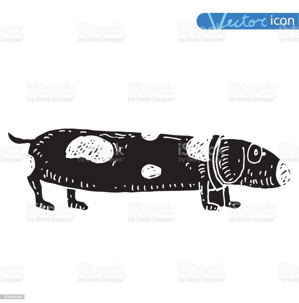 -Köpek Icon - vektör vektör çizim. royalty-free köpek icon vektör vektör çizim stok vektör sanatı & burun - vücut parçaları'nin daha fazla görseli