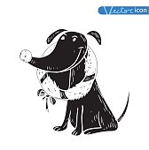 Vector - dog icon - vector illustration.
