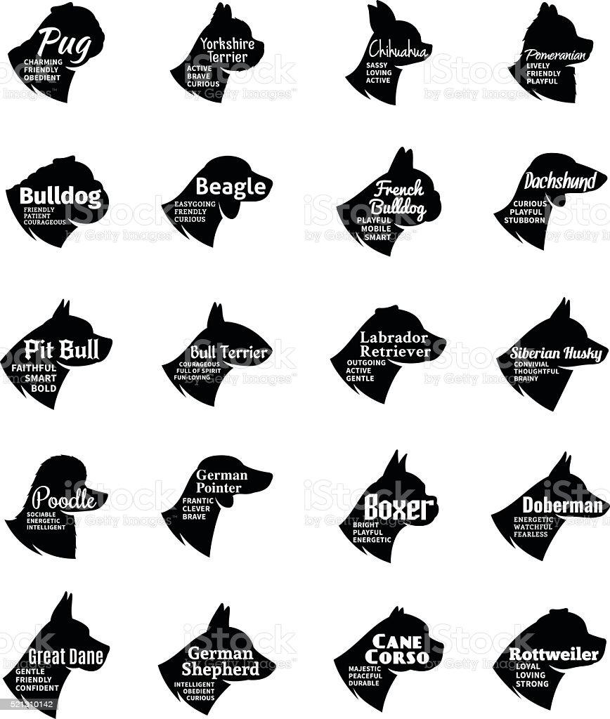 Perro colección de iconos Vector de Aislado en blanco - ilustración de arte vectorial