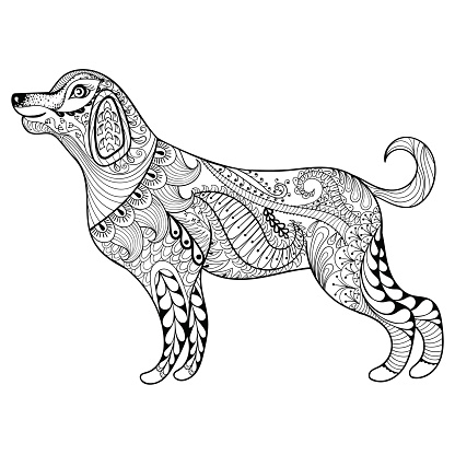 Vector dog print for adult coloring page