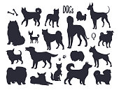 Vector dog silhouettes, different breeds, isolated sketch collection. Black Dog icons, vector illustration.