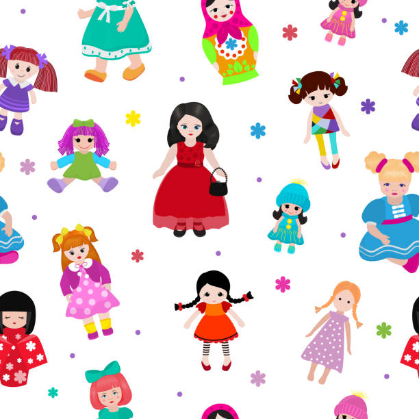 Vector doll toy cute girl female set illustration childhood baby dress face child beautiful dollhouse children baby toyhouse cartoon isolated seamless pattern background Vector doll toy cute girl female set illustration childhood baby dress face child beautiful dollhouse children baby toyhouse cartoon isolated seamless pattern background. dollhouse stock illustrations