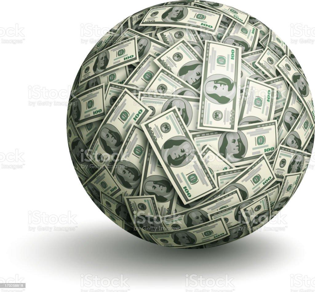 Vector dollar ball vector art illustration